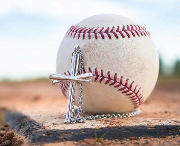 Baseball Bat Cross Necklaces Javier Baez Five Tool