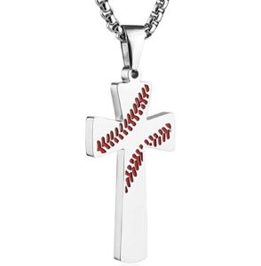 Baseball Bat Cross Necklaces