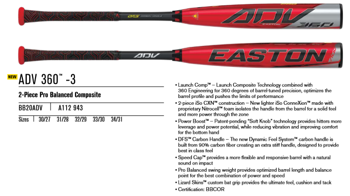 2020 Easton ADV 3 BBCOR Review